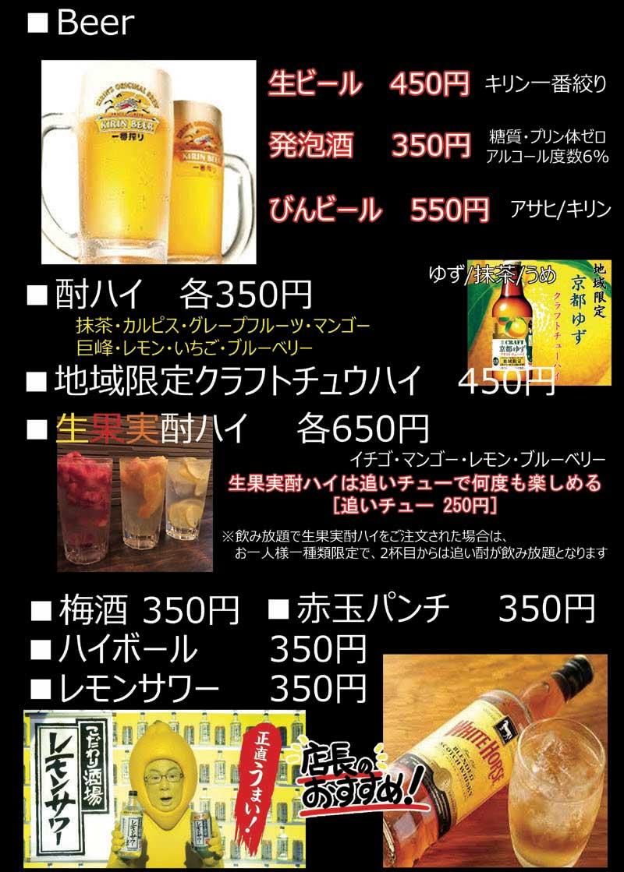 とりいち京都一号店「アルコールメニュー」
